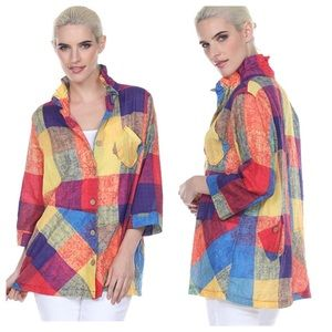 Terra SJ Apparel Rainbow Plaid Ruffle Collar Top